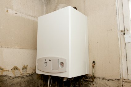 A single boiler burns gas and the heat is passed through a heat exchanger to heat the water for the central heating.